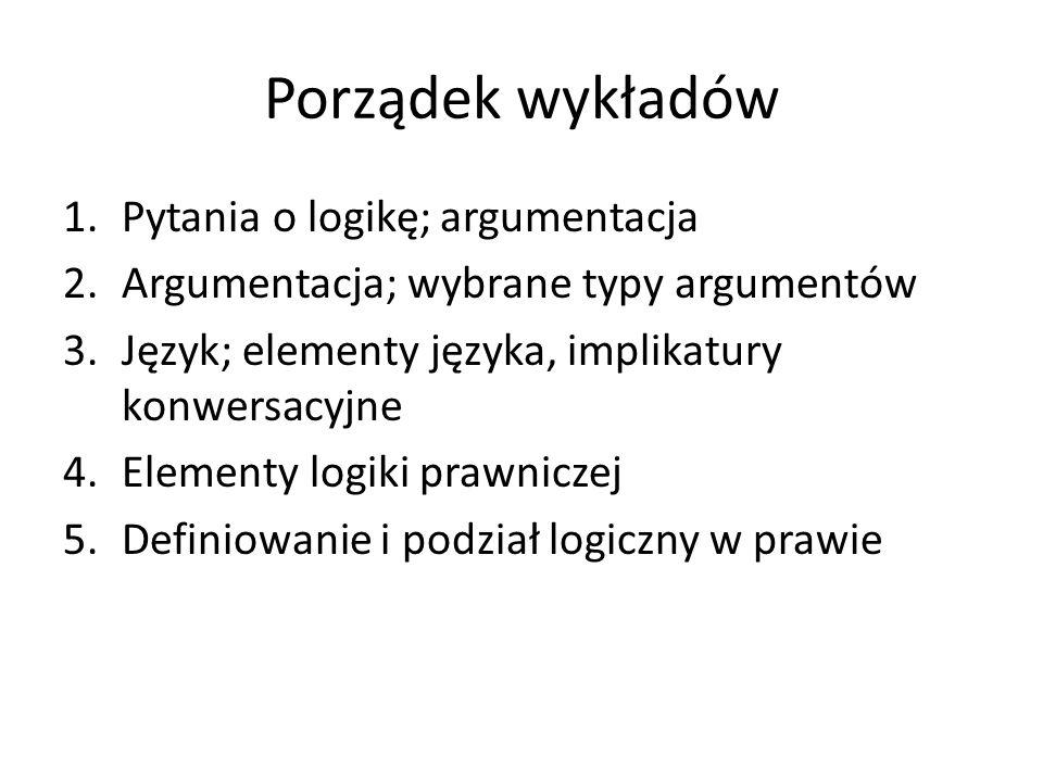 Porządek wykładów 1.Pytania o logikę; argumentacja 2.Argumentacja; wybrane typy argumentów 3.Język; elementy języka, implikatury konwersacyjne 4.Eleme