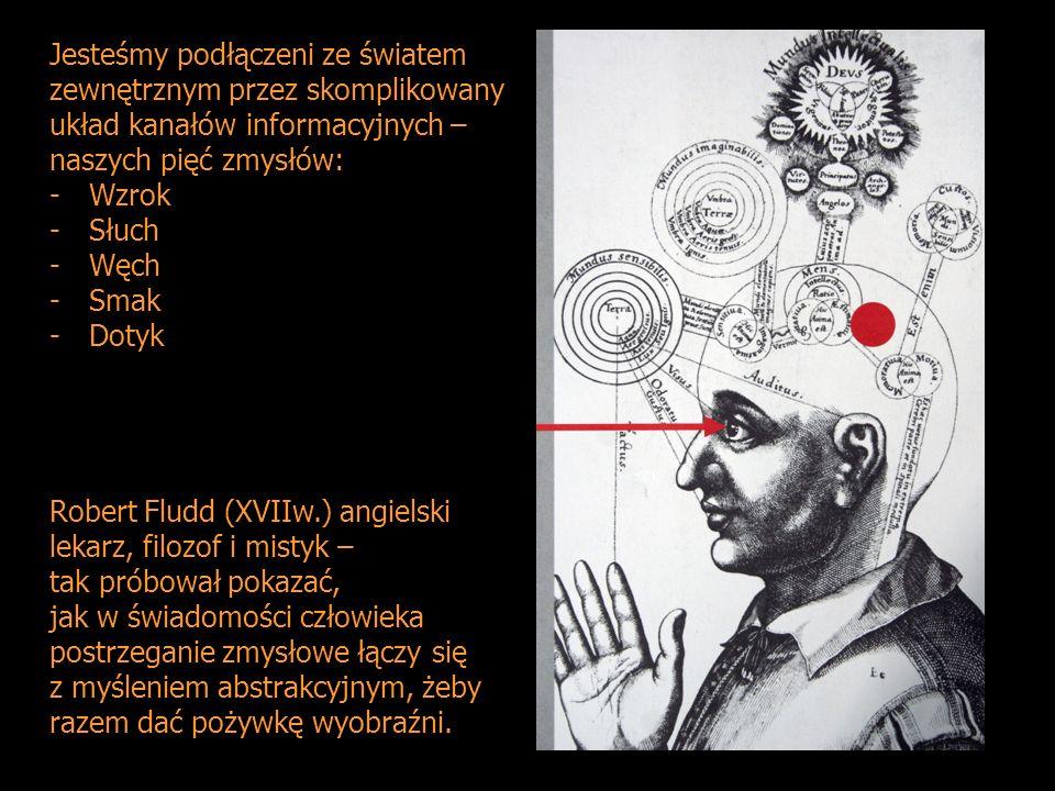 Jesteśmy podłączeni ze światem zewnętrznym przez skomplikowany układ kanałów informacyjnych – naszych pięć zmysłów: -Wzrok -Słuch -Węch -Smak -Dotyk Robert Fludd (XVIIw.) angielski lekarz, filozof i mistyk – tak próbował pokazać, jak w świadomości człowieka postrzeganie zmysłowe łączy się z myśleniem abstrakcyjnym, żeby razem dać pożywkę wyobraźni.