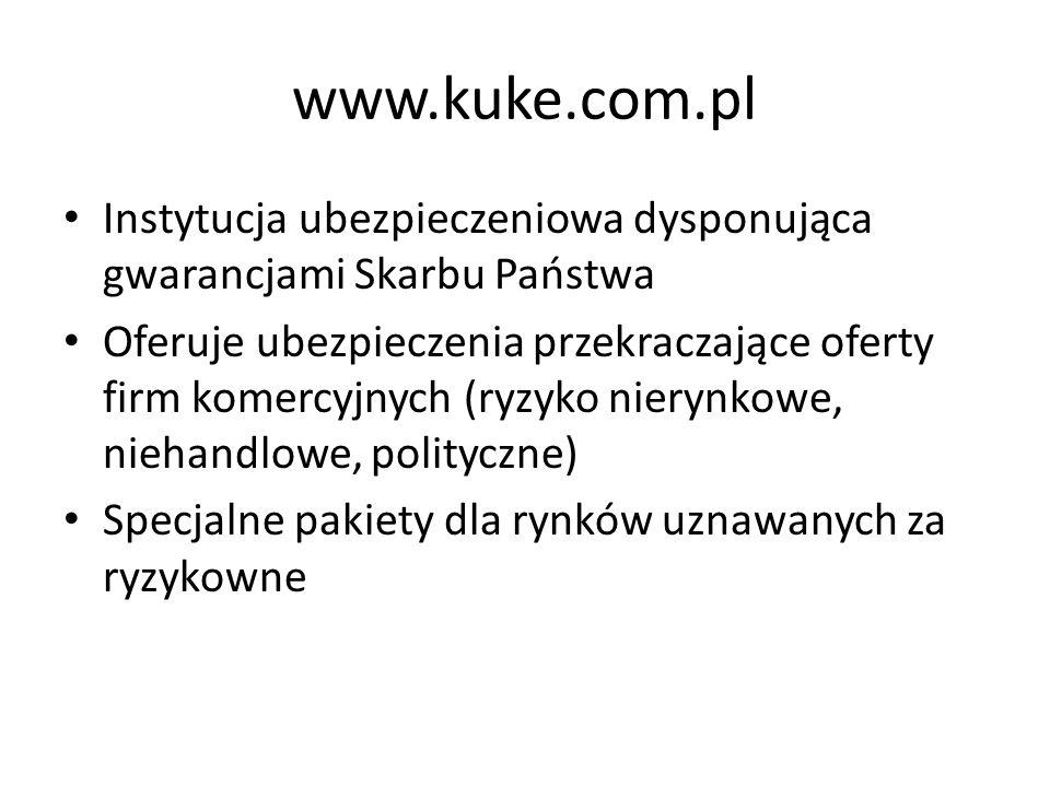 www.kuke.com.pl Instytucja ubezpieczeniowa dysponująca gwarancjami Skarbu Państwa Oferuje ubezpieczenia przekraczające oferty firm komercyjnych (ryzyk