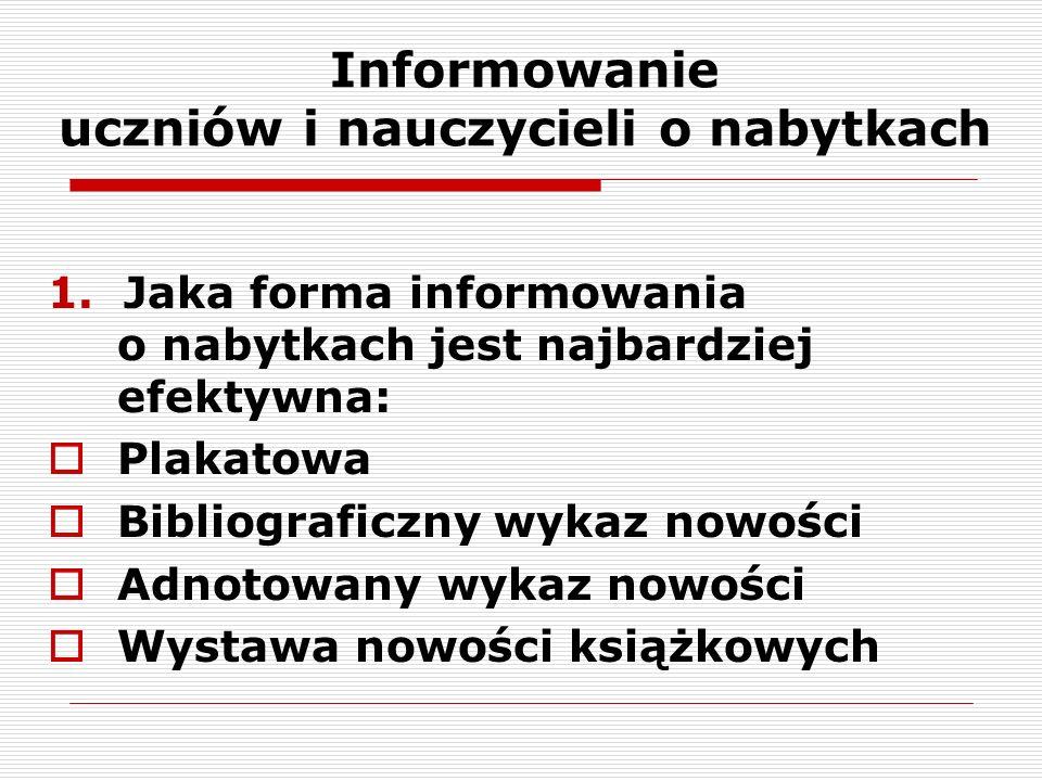 Informowanie uczniów i nauczycieli o nabytkach 1.