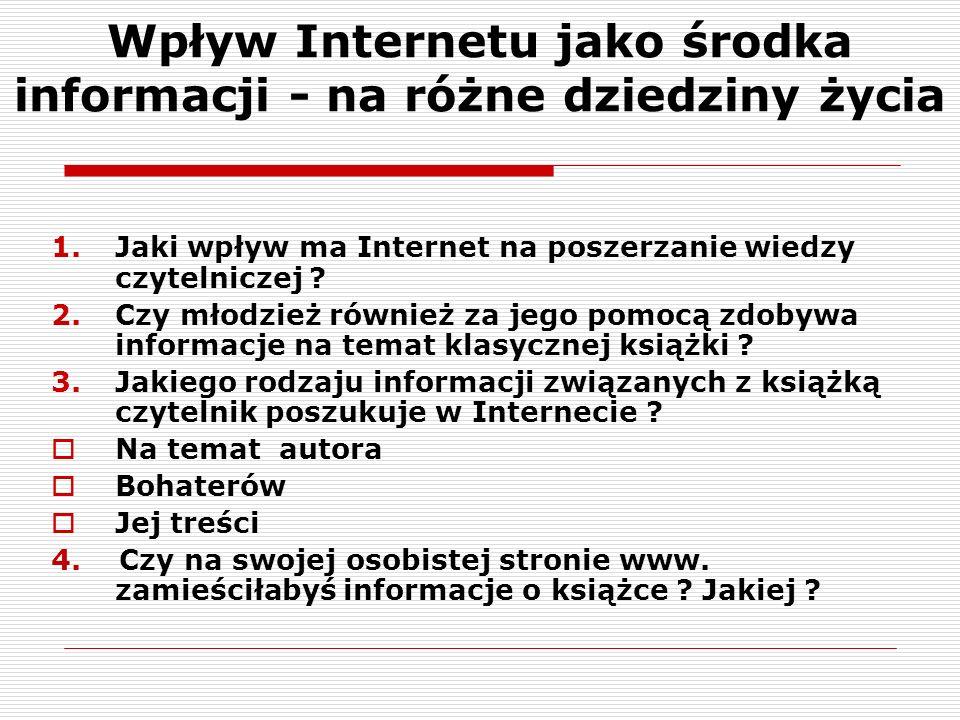 Wpływ Internetu jako środka informacji - na różne dziedziny życia 1.Jaki wpływ ma Internet na poszerzanie wiedzy czytelniczej .