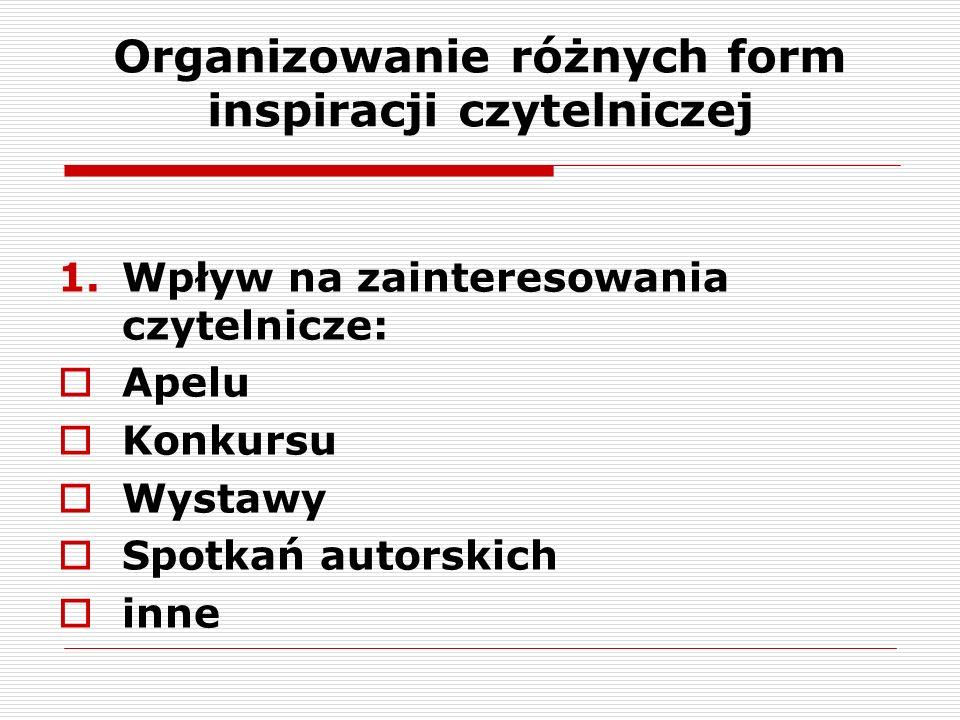 Organizowanie różnych form inspiracji czytelniczej 1.Wpływ na zainteresowania czytelnicze:  Apelu  Konkursu  Wystawy  Spotkań autorskich  inne