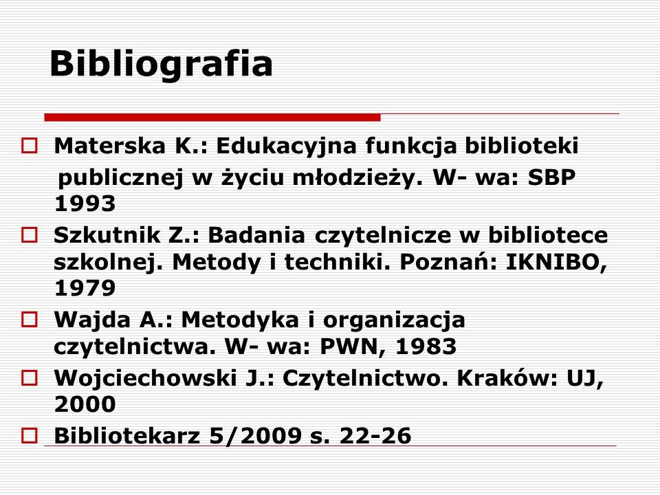 Bibliografia  Materska K.: Edukacyjna funkcja biblioteki publicznej w życiu młodzieży.
