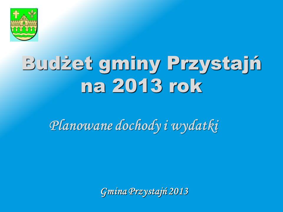 Wstęp  budżetu gminy Przystajń na 2013 rok  Niniejsza prezentacja ma na celu przybliżenie mieszkańcom oraz wszystkim zainteresowanym budżetu gminy Przystajń na 2013 rok.