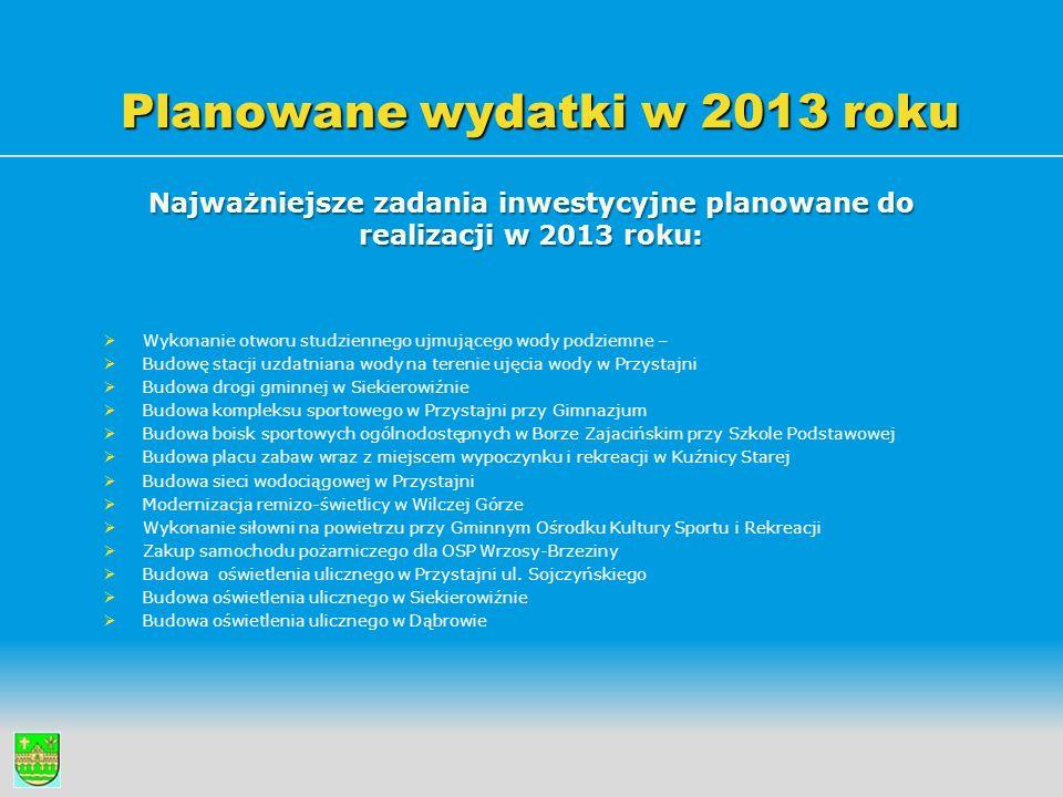 Planowane wydatki w 2013 roku Najważniejsze zadania inwestycyjne planowane do realizacji w 2013 roku:   Wykonanie otworu studziennego ujmującego wod