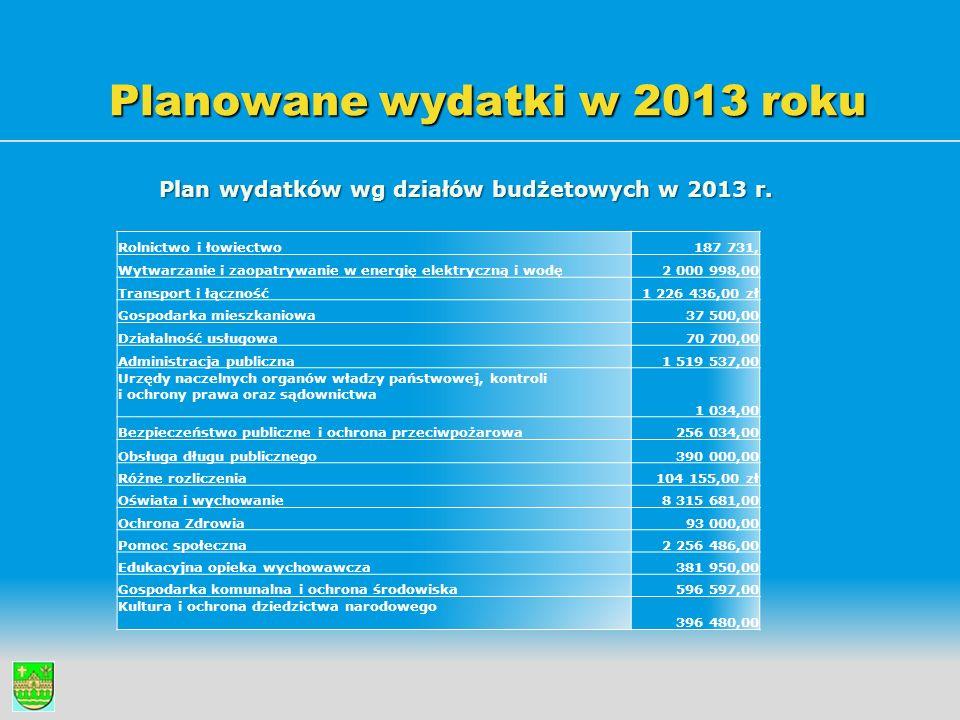 Planowane wydatki w 2013 roku Plan wydatków wg działów budżetowych w 2013 r. Rolnictwo i łowiectwo187 731, Wytwarzanie i zaopatrywanie w energię elekt