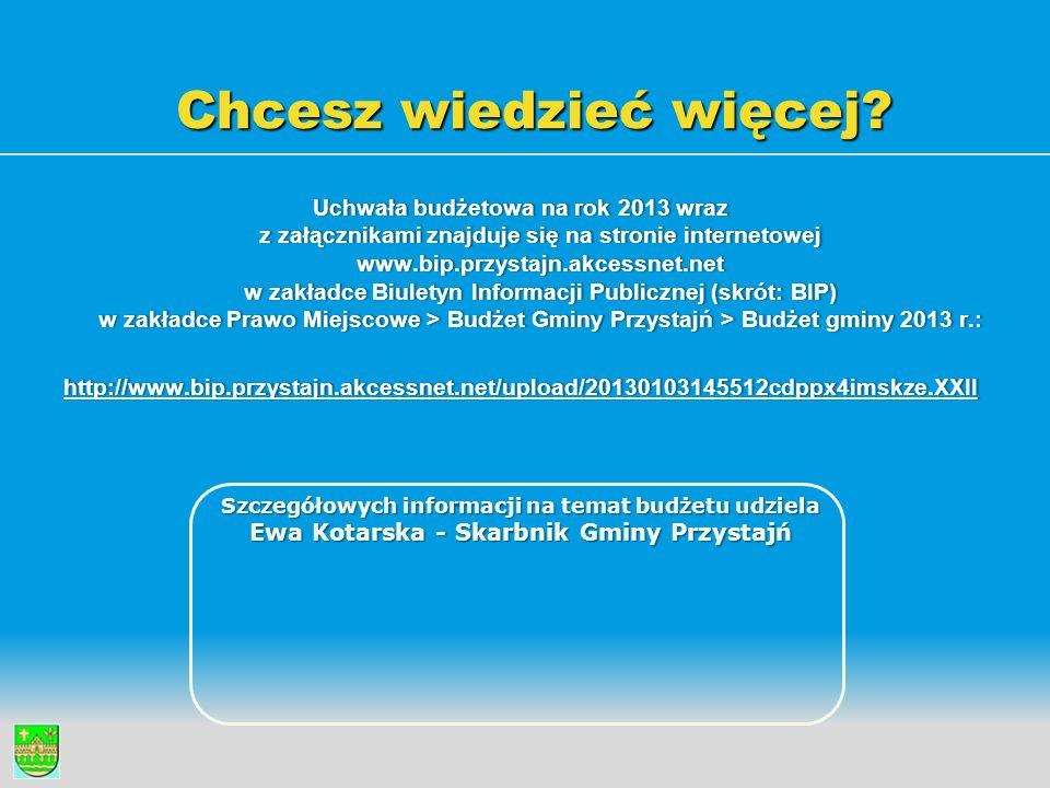 Chcesz wiedzieć więcej? Uchwała budżetowa na rok 2013 wraz z załącznikami znajduje się na stronie internetowej www.bip.przystajn.akcessnet.net w zakła