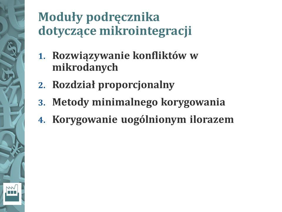 Moduły podręcznika dotyczące mikrointegracji 1. Rozwiązywanie konfliktów w mikrodanych 2.
