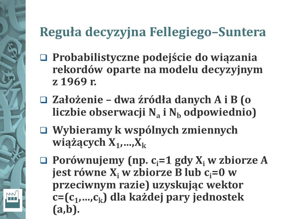 Reguła decyzyjna Fellegiego–Suntera  Probabilistyczne podejście do wiązania rekordów oparte na modelu decyzyjnym z 1969 r.