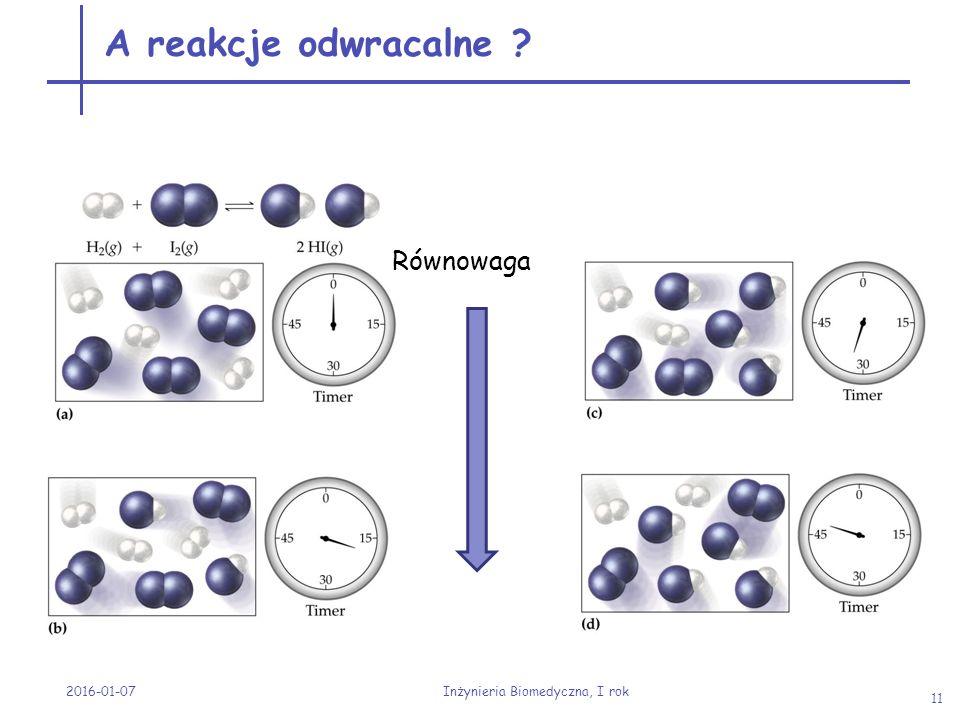 2016-01-07 Inżynieria Biomedyczna, I rok 11 A reakcje odwracalne ? Równowaga