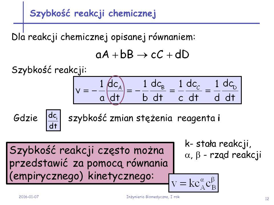 Dla reakcji chemicznej opisanej równaniem: Szybkość reakcji: Szybkość reakcji chemicznej 2016-01-07 Inżynieria Biomedyczna, I rok 12 Szybkość reakcji