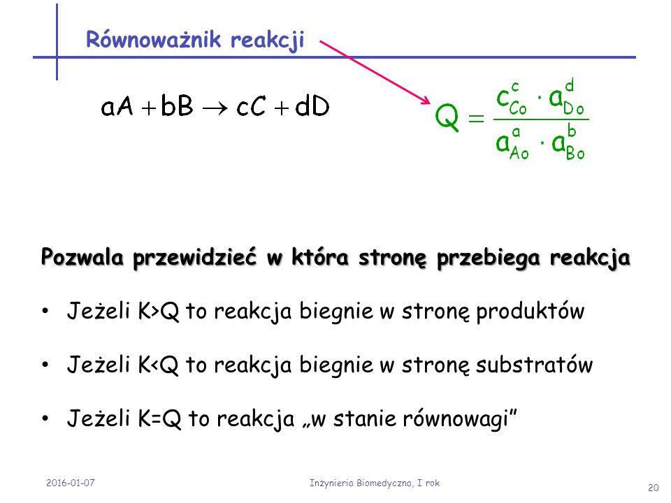 Równoważnik reakcji 2016-01-07 Inżynieria Biomedyczna, I rok 20 Pozwala przewidzieć w która stronę przebiega reakcja Jeżeli K>Q to reakcja biegnie w s