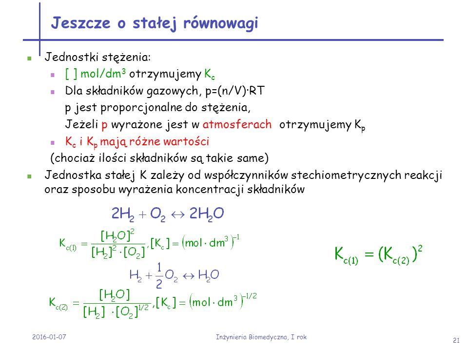 2016-01-07 Inżynieria Biomedyczna, I rok 21 Jeszcze o stałej równowagi Jednostki stężenia: [ ] mol/dm 3 otrzymujemy K c Dla składników gazowych, p=(n/