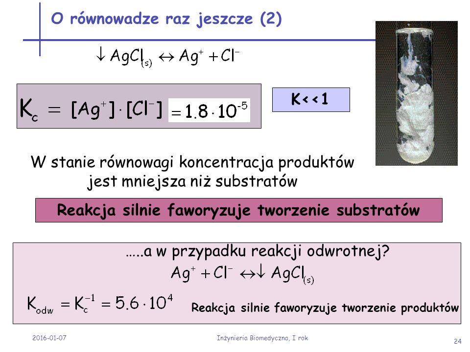 2016-01-07 Inżynieria Biomedyczna, I rok 24 O równowadze raz jeszcze (2) K<<1 W stanie równowagi koncentracja produktów jest mniejsza niż substratów R