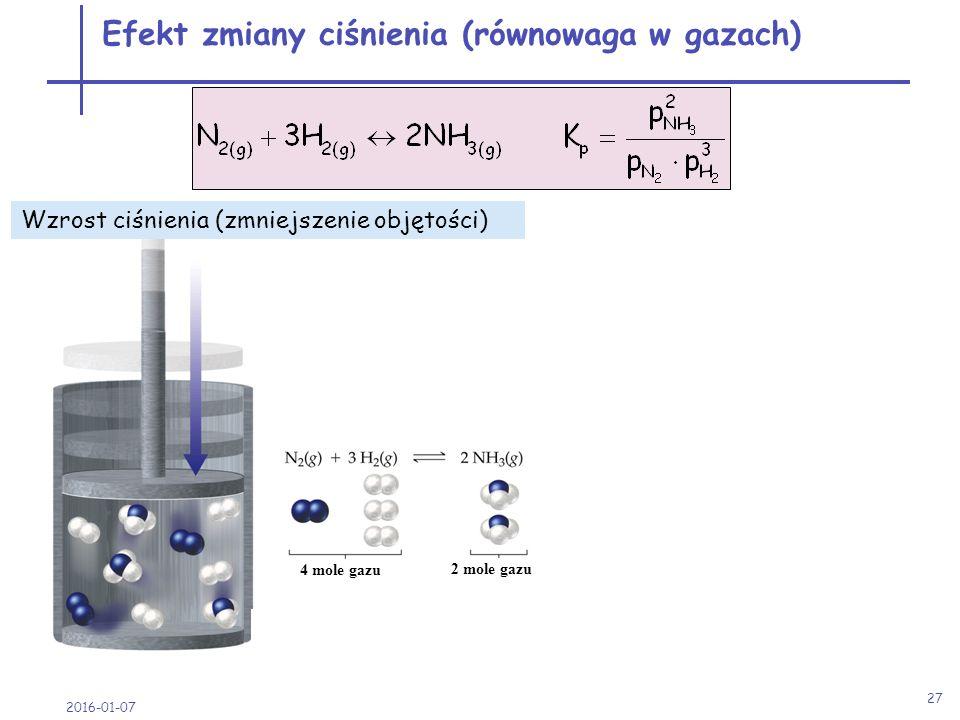 2016-01-07 27 4 mole gazu 2 mole gazu przesunięcie w prawo w stronę mniejszej ilości moli gazów Efekt zmiany ciśnienia (równowaga w gazach) Wzrost ciś