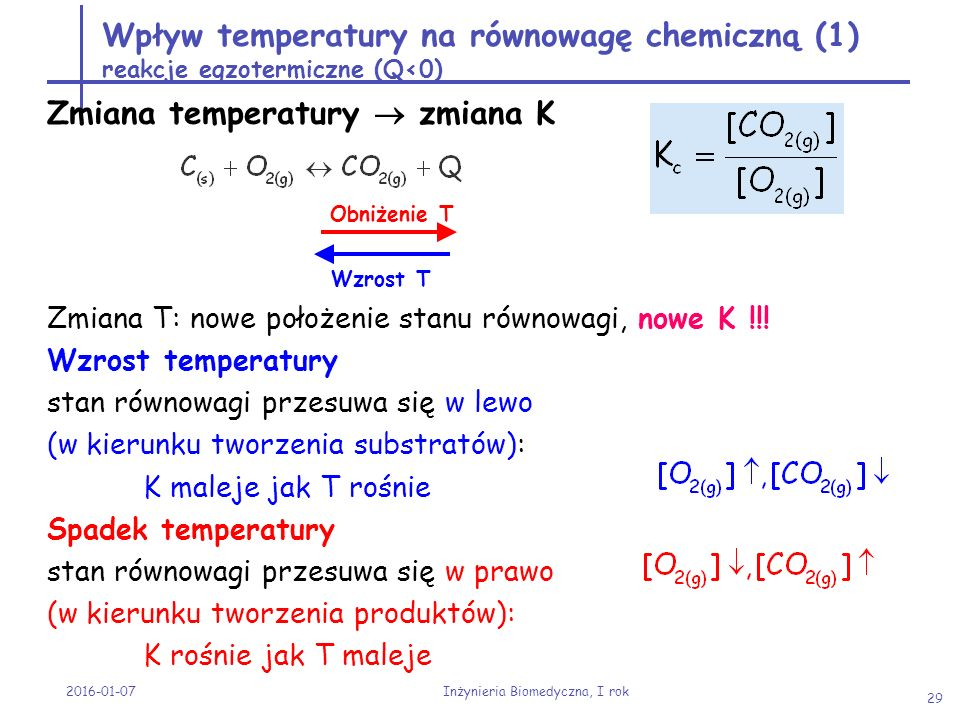 2016-01-07 Inżynieria Biomedyczna, I rok 29 Wpływ temperatury na równowagę chemiczną (1) reakcje egzotermiczne (Q<0) Zmiana temperatury  zmiana K Zmi