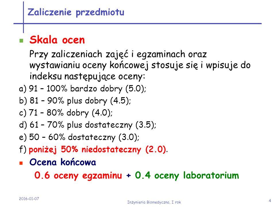 2016-01-07 Inżynieria Biomedyczna, I rok 5 Najważniejsze podręczniki * A.Bielański - Chemia ogólna i nieorganiczna * A.Bielański - Podstawy chemii nieorganicznej * F.A.Cotton, G.