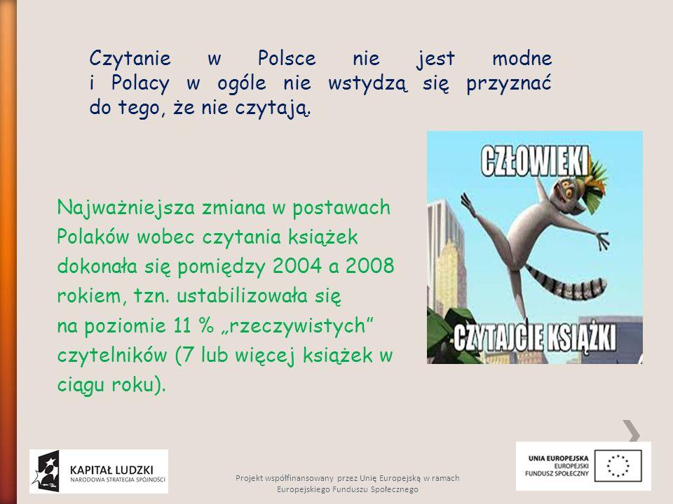 """Najważniejsza zmiana w postawach Polaków wobec czytania książek dokonała się pomiędzy 2004 a 2008 rokiem, tzn. ustabilizowała się na poziomie 11 % """"rz"""