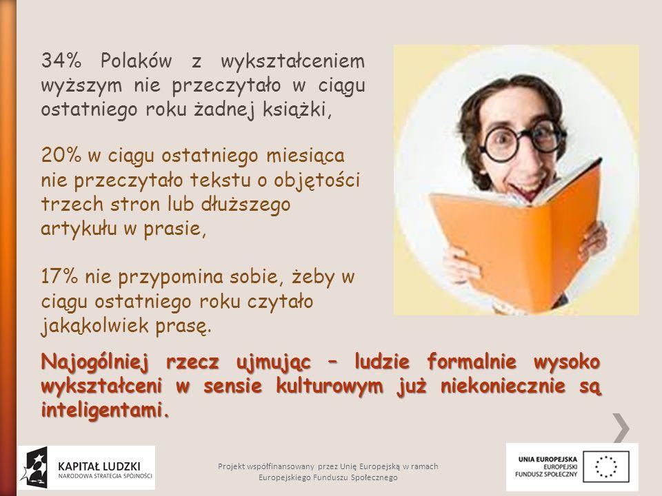 Najogólniej rzecz ujmując – ludzie formalnie wysoko wykształceni w sensie kulturowym już niekoniecznie są inteligentami. 34% Polaków z wykształceniem