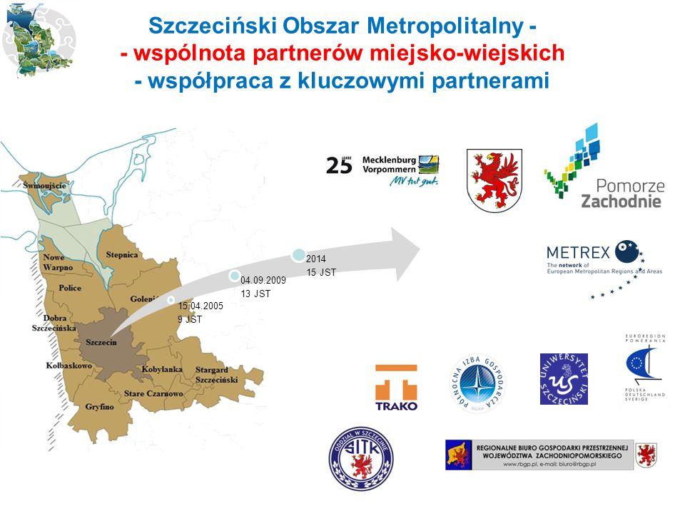 15.04.2005 9 JST 04.09.2009 13 JST 2014 15 JST Szczeciński Obszar Metropolitalny - - wspólnota partnerów miejsko-wiejskich - współpraca z kluczowymi partnerami
