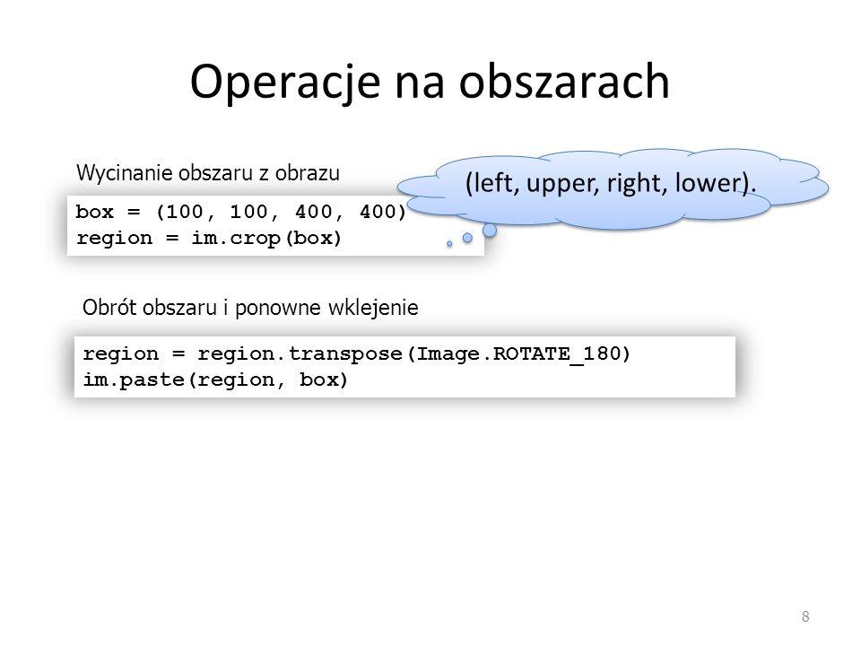 Przykład – wykrywanie krawędzi 19 import Image,ImageMath,ImageFilter import ImageOps A = ImageOps.grayscale(Image.open( lena512.bmp )) B=A.filter(ImageFilter.SMOOTH_MORE) k =ImageFilter.Kernel(size=(3,3),kernel=[0,1,0,1,-4,1,0,1,0]) C=B.filter(k) k1=ImageFilter.Kernel(size=(3,3),kernel=[1,1,1,0,0,0,-1,-1,- 1],scale=9) k2=ImageFilter.Kernel(size=(3,3),kernel=[1,1,1,0,0,0,-1,-1,- 1],scale=9) E1=B.filter(k1) E2=B.filter(k2) E=ImageMath.eval( (a*a+b*b)^0.5 ,a=E1,b=E2) D=ImageMath.eval( (c==0) ,c=C) F=ImageMath.eval( d * e ,d=D,e=E) G=ImageMath.eval( 255*(f>50) ,f=F)