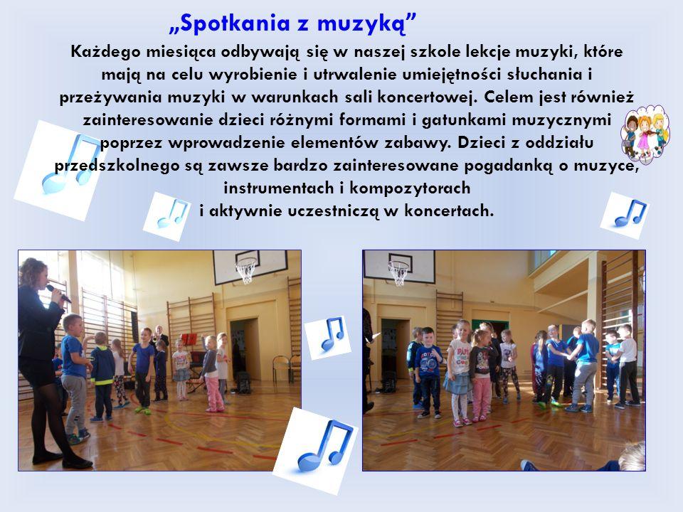 """"""" Spotkania z muzyką Każdego miesiąca odbywają się w naszej szkole lekcje muzyki, które mają na celu wyrobienie i utrwalenie umiejętności słuchania i przeżywania muzyki w warunkach sali koncertowej."""