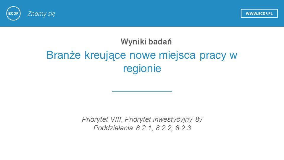 Branże kreujące nowe miejsca pracy w regionie Priorytet VIII, Priorytet inwestycyjny 8v Poddziałania 8.2.1, 8.2.2, 8.2.3 Wyniki badań