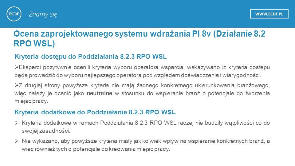 Ocena zaprojektowanego systemu wdrażania PI 8v (Działanie 8.2 RPO WSL) Kryteria dostępu do Poddziałania 8.2.3 RPO WSL  Eksperci pozytywnie ocenili kryteria wyboru operatora wsparcia, wskazywano iż kryteria dostępu będą prowadzić do wyboru najlepszego operatora pod względem doświadczenia i wiarygodności.
