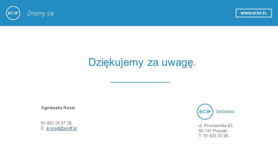 Dziękujemy za uwagę. Agnieszka Nosal M: 882 06 97 28 E: a.nosal@ecdf.pla.nosal@ecdf.pl ul.