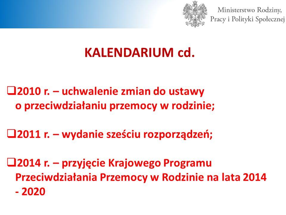 KALENDARIUM cd.  2010 r. – uchwalenie zmian do ustawy o przeciwdziałaniu przemocy w rodzinie;  2011 r. – wydanie sześciu rozporządzeń;  2014 r. – p