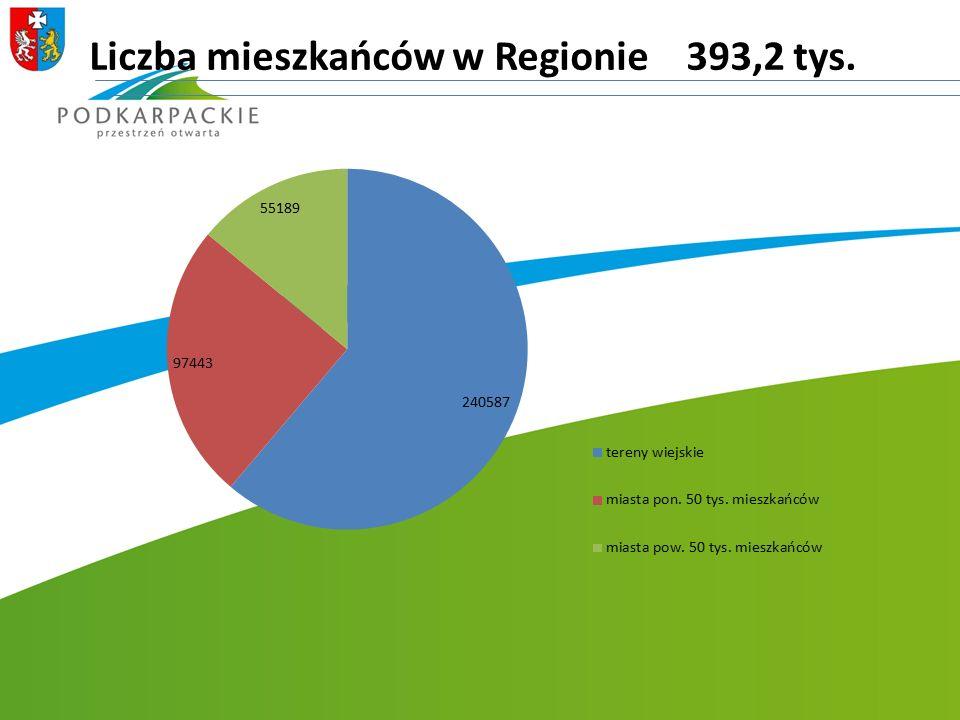 Liczba mieszkańców w Regionie 393,2 tys.