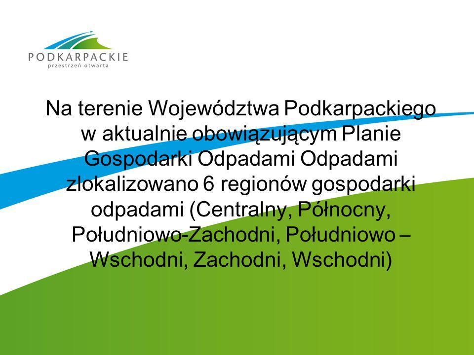Na terenie Województwa Podkarpackiego w aktualnie obowiązującym Planie Gospodarki Odpadami Odpadami zlokalizowano 6 regionów gospodarki odpadami (Cent