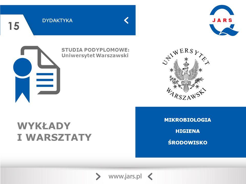 DYDAKTYKA STUDIA PODYPLOMOWE: Uniwersytet Warszawski WYKŁADY I WARSZTATY MIKROBIOLOGIA HIGIENA ŚRODOWISKO