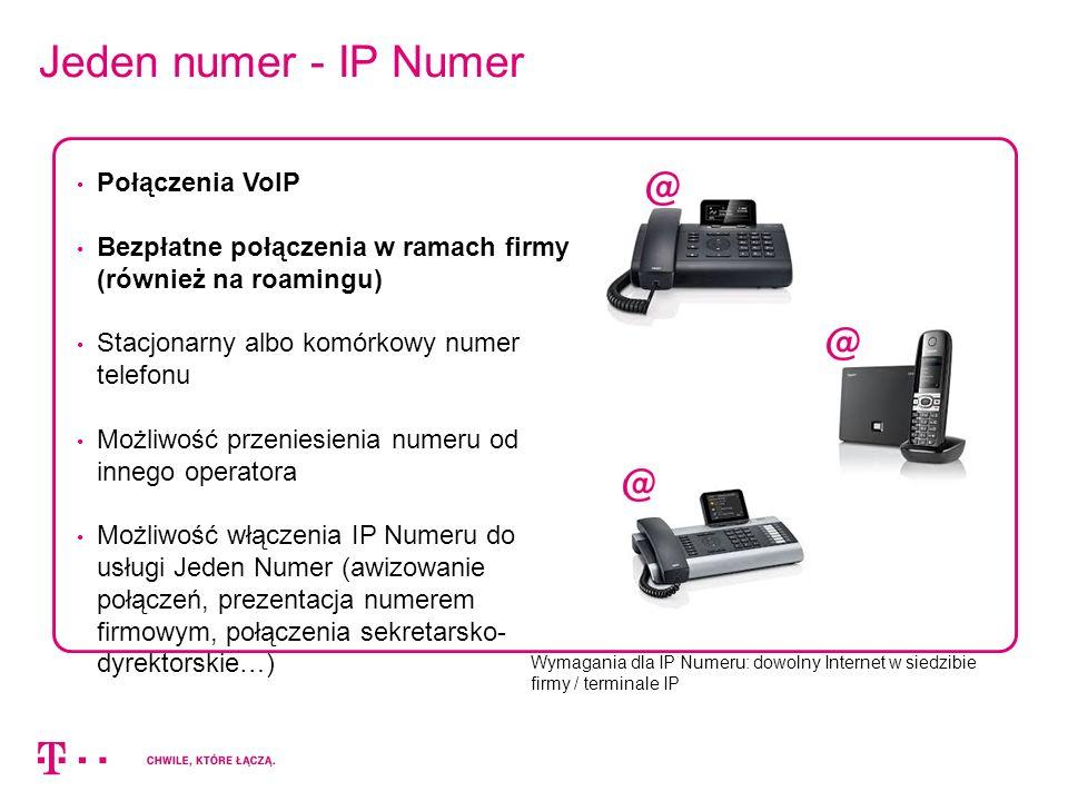 Jeden numer - IP Numer Wymagania dla IP Numeru: dowolny Internet w siedzibie firmy / terminale IP Połączenia VoIP Bezpłatne połączenia w ramach firmy (również na roamingu) Stacjonarny albo komórkowy numer telefonu Możliwość przeniesienia numeru od innego operatora Możliwość włączenia IP Numeru do usługi Jeden Numer (awizowanie połączeń, prezentacja numerem firmowym, połączenia sekretarsko- dyrektorskie…)