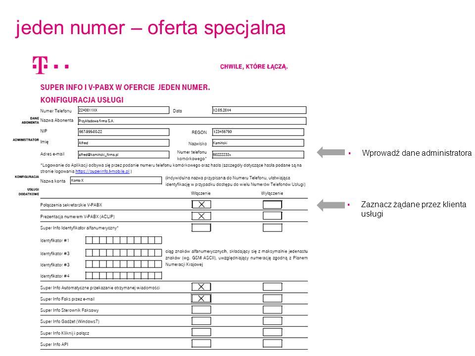 jeden numer – oferta specjalna  Wprowadź dane administratora  Zaznacz żądane przez klienta usługi