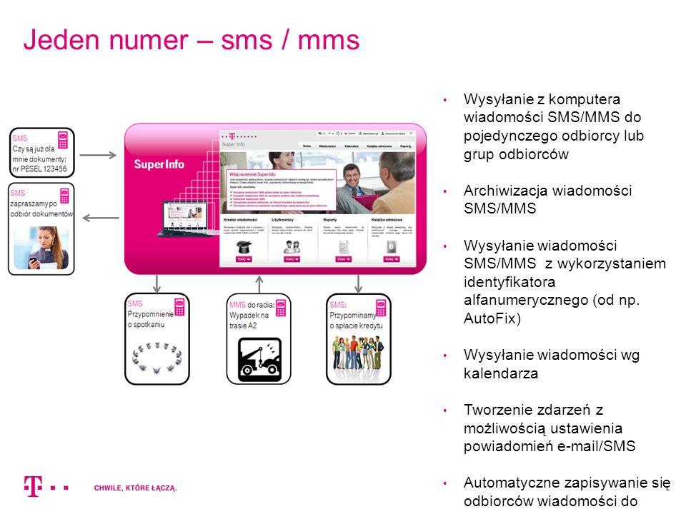Jeden numer – sms / mms Wysyłanie z komputera wiadomości SMS/MMS do pojedynczego odbiorcy lub grup odbiorców Archiwizacja wiadomości SMS/MMS Wysyłanie wiadomości SMS/MMS z wykorzystaniem identyfikatora alfanumerycznego (od np.