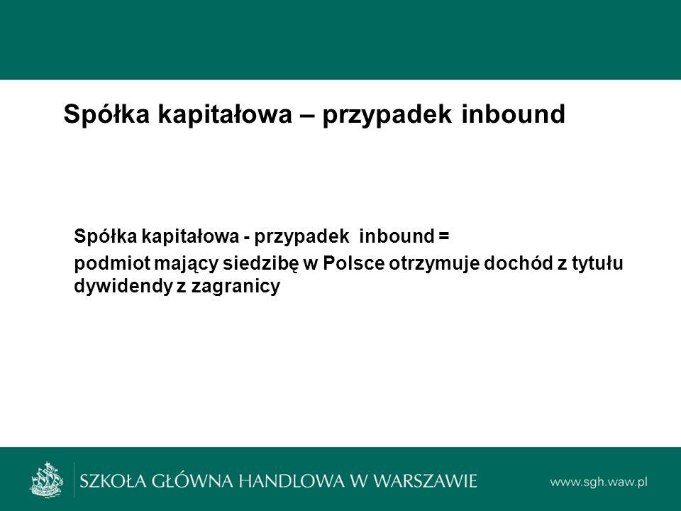 Spółka kapitałowa – przypadek inbound Spółka kapitałowa - przypadek inbound = podmiot mający siedzibę w Polsce otrzymuje dochód z tytułu dywidendy z zagranicy