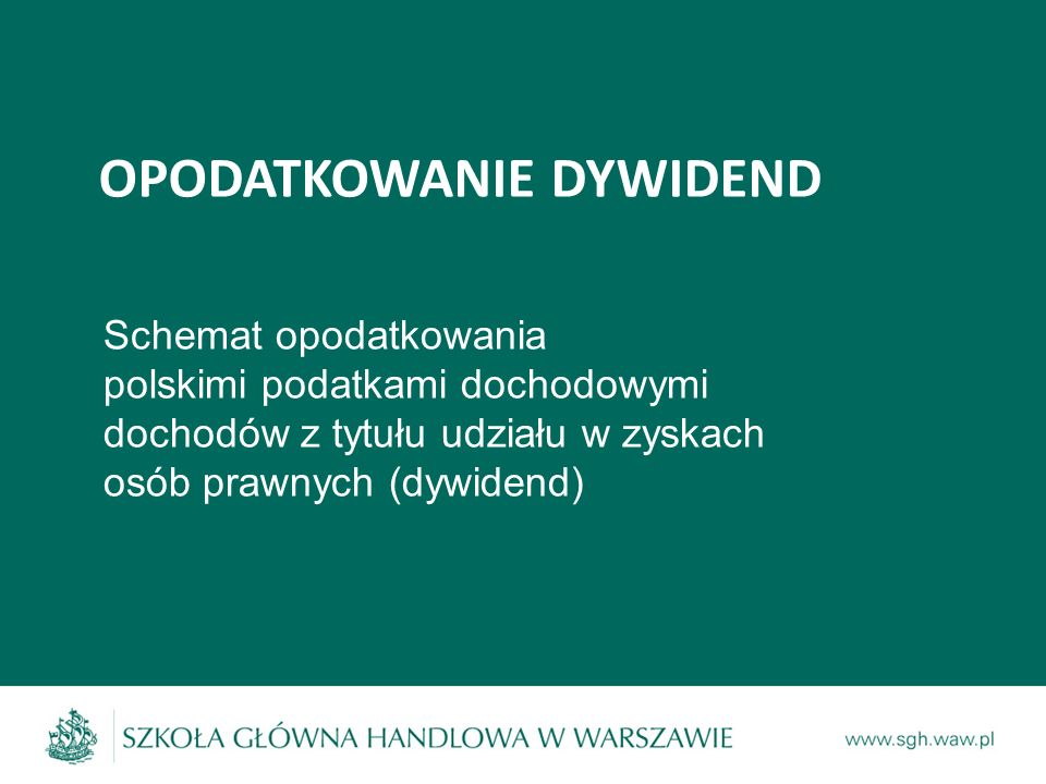 OPODATKOWANIE DYWIDEND Schemat opodatkowania polskimi podatkami dochodowymi dochodów z tytułu udziału w zyskach osób prawnych (dywidend)