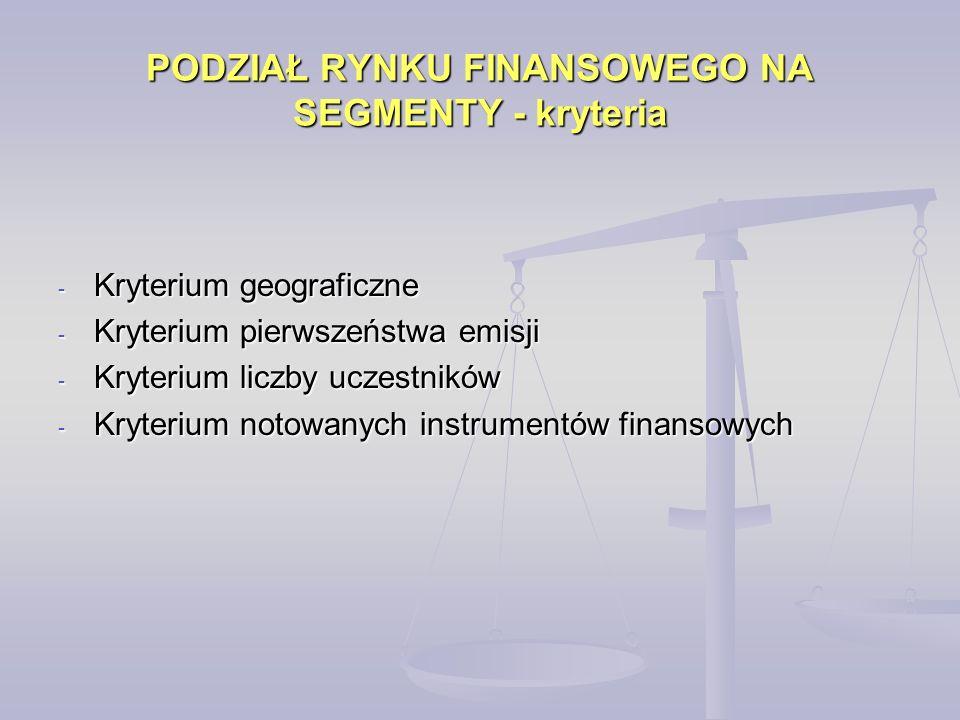 PODZIAŁ RYNKU FINANSOWEGO NA SEGMENTY - kryteria - Kryterium geograficzne - Kryterium pierwszeństwa emisji - Kryterium liczby uczestników - Kryterium