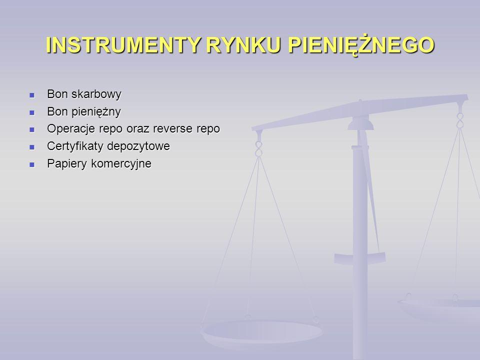 INSTRUMENTY RYNKU PIENIĘŻNEGO Bon skarbowy Bon skarbowy Bon pieniężny Bon pieniężny Operacje repo oraz reverse repo Operacje repo oraz reverse repo Certyfikaty depozytowe Certyfikaty depozytowe Papiery komercyjne Papiery komercyjne