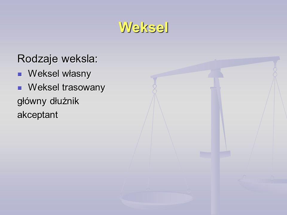 Weksel Rodzaje weksla: Weksel własny Weksel własny Weksel trasowany Weksel trasowany główny dłużnik akceptant