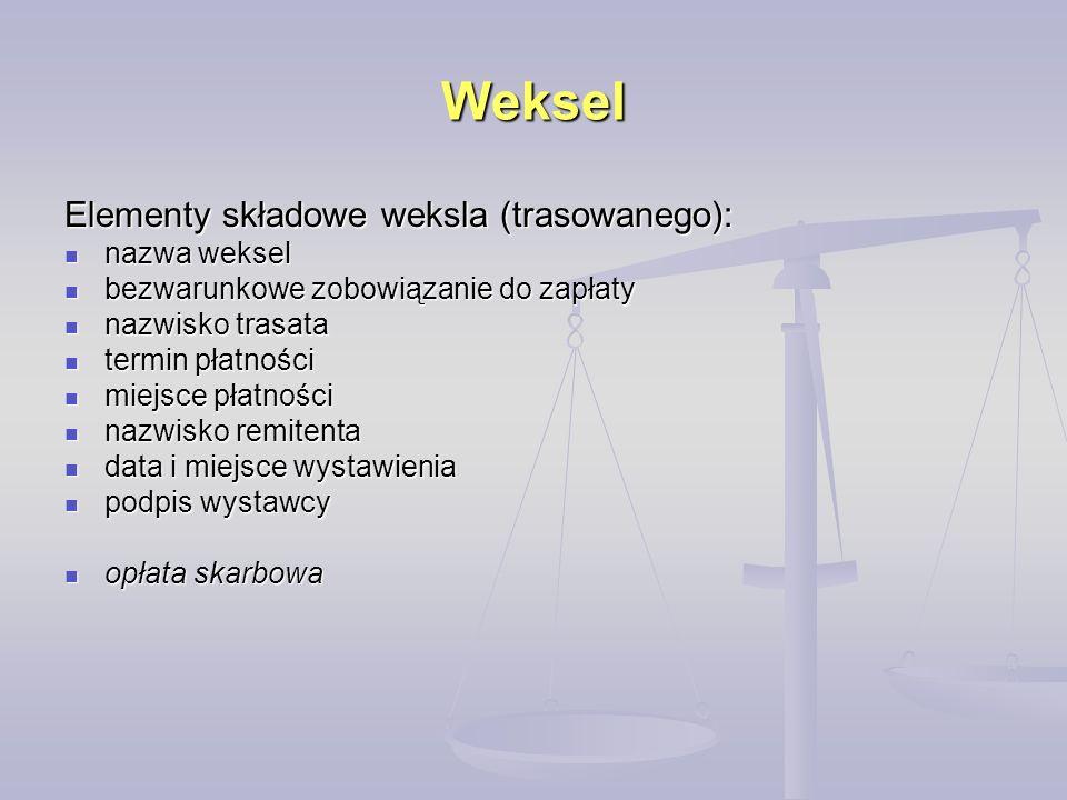 Weksel Elementy składowe weksla (trasowanego): nazwa weksel nazwa weksel bezwarunkowe zobowiązanie do zapłaty bezwarunkowe zobowiązanie do zapłaty naz