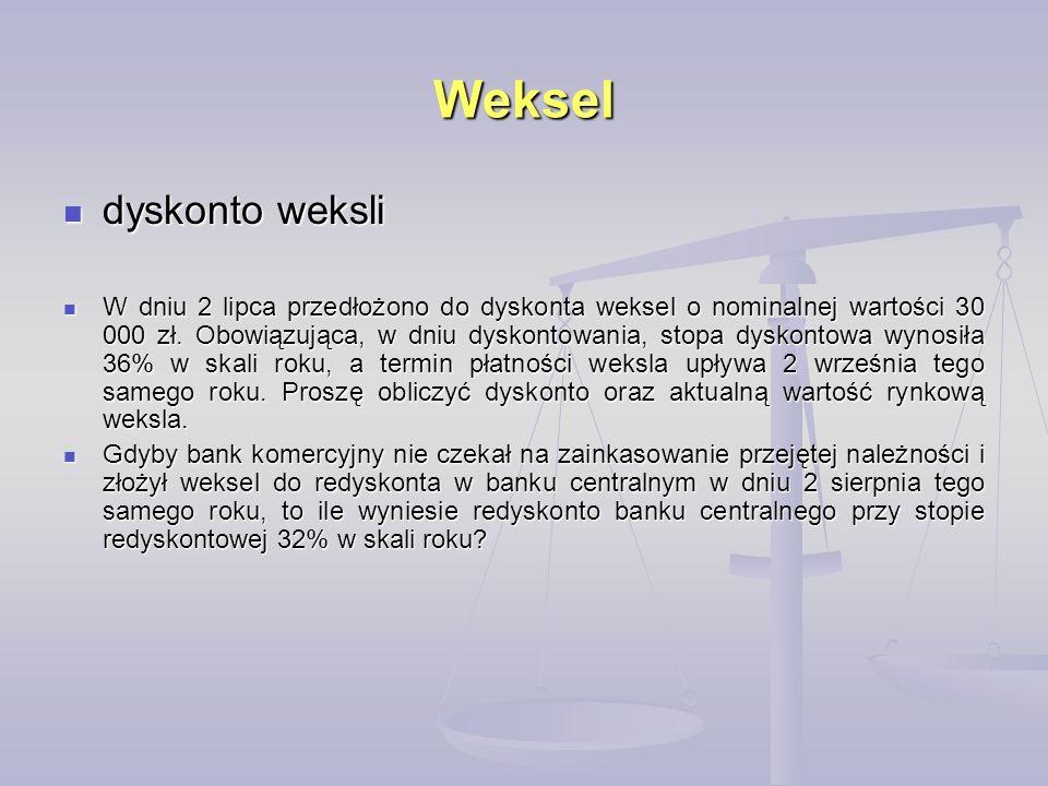 Weksel dyskonto weksli dyskonto weksli W dniu 2 lipca przedłożono do dyskonta weksel o nominalnej wartości 30 000 zł. Obowiązująca, w dniu dyskontowan