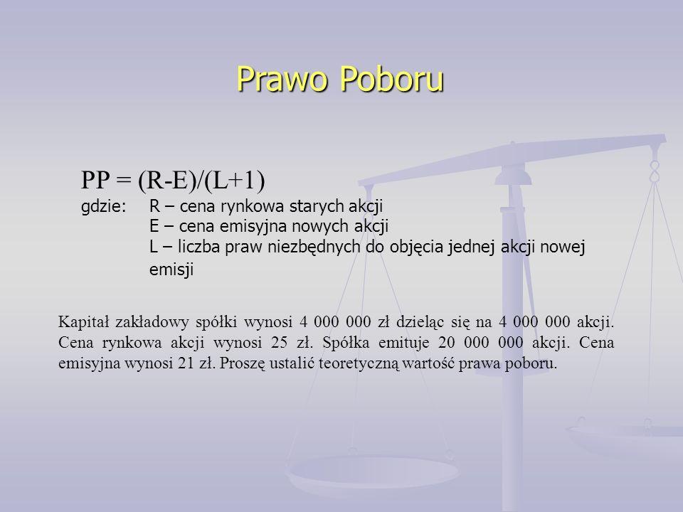 Prawo Poboru PP = (R-E)/(L+1) gdzie: R – cena rynkowa starych akcji E – cena emisyjna nowych akcji L – liczba praw niezbędnych do objęcia jednej akcji