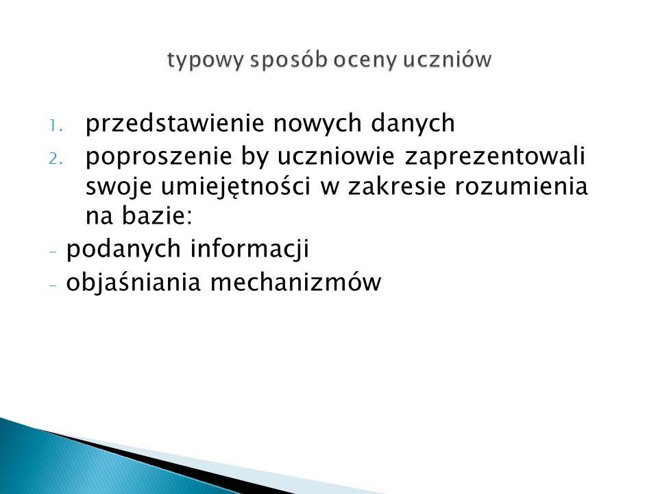 1.przedstawienie nowych danych 2.