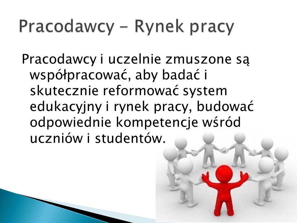 Pracodawcy i uczelnie zmuszone są współpracować, aby badać i skutecznie reformować system edukacyjny i rynek pracy, budować odpowiednie kompetencje wś
