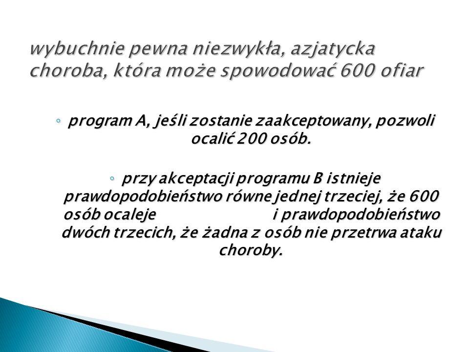 ◦ program A, jeśli zostanie zaakceptowany, pozwoli ocalić 200 osób. ◦ przy akceptacji programu B istnieje prawdopodobieństwo równe jednej trzeciej, że