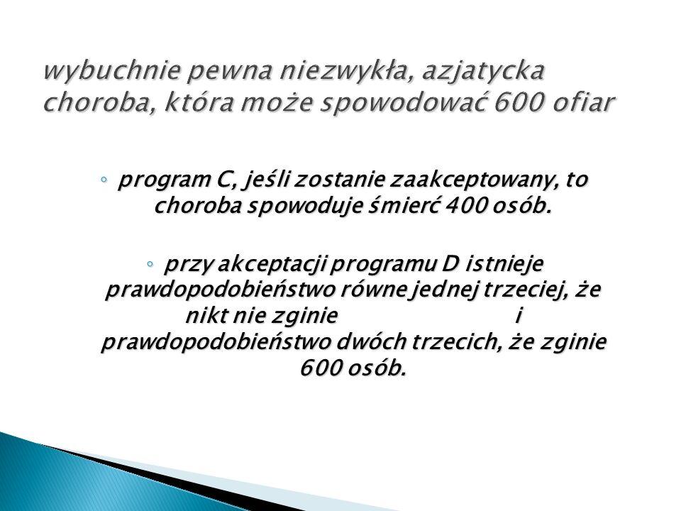 ◦ program C, jeśli zostanie zaakceptowany, to choroba spowoduje śmierć 400 osób. ◦ przy akceptacji programu D istnieje prawdopodobieństwo równe jednej