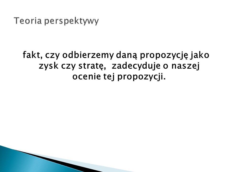 fakt, czy odbierzemy daną propozycję jako zysk czy stratę, zadecyduje o naszej ocenie tej propozycji.