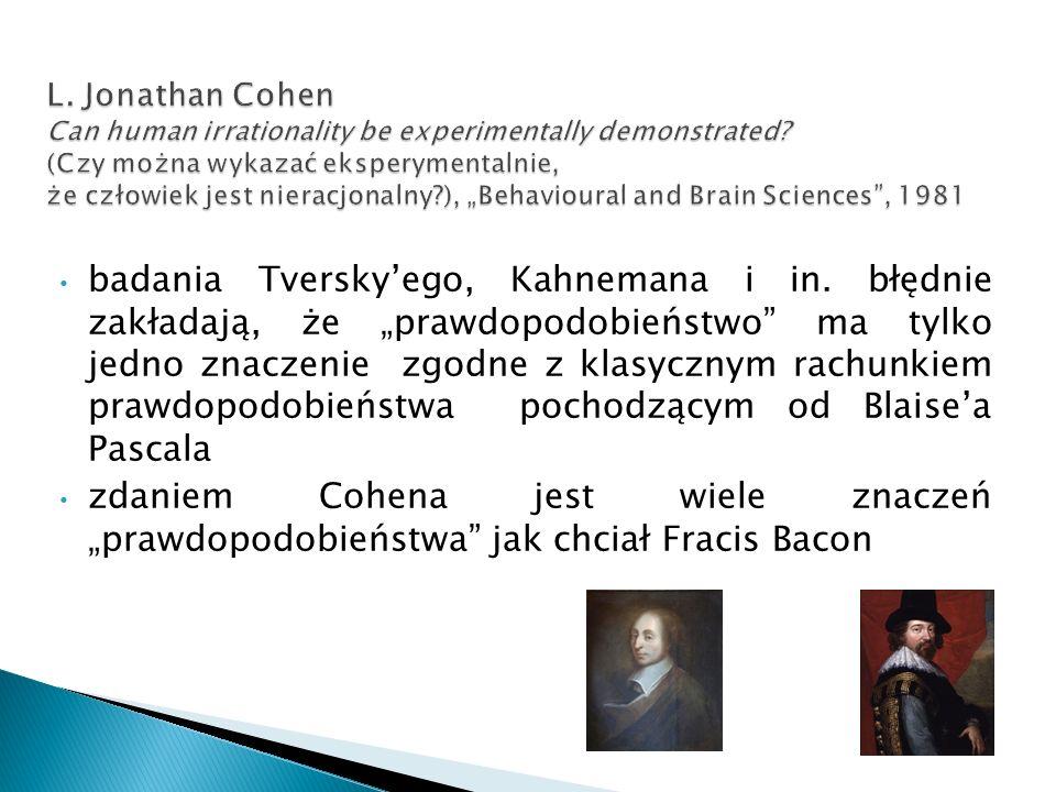 badania Tversky'ego, Kahnemana i in.